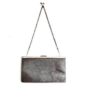 J Crew Nubby Leather Retractable Chain Clutch